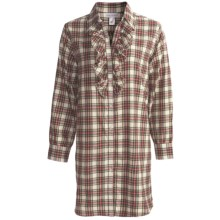 Soft Surroundings Fireside Nightshirt - Flannel, Long Sleeve (For Women) in Ivory Plaid - Closeouts