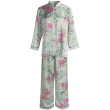 Soft Surroundings Geisha Pajamas - Mandarin Collar, Long Sleeve (For Women) in Ivory/Teal - Closeouts
