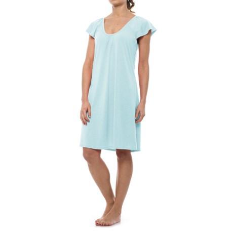 Softies Natalie Nightgown - Short Sleeve (For Women) in Aqua
