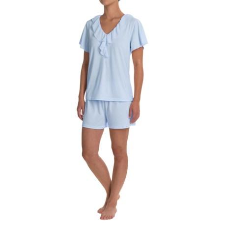 Softies Paddi Murphy Ellie Shorty Pajamas - Short Sleeve (For Women) in Light Blue