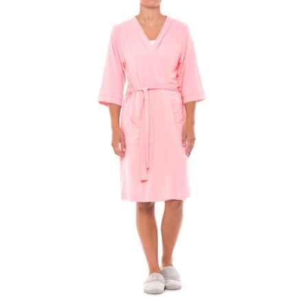 Softies Paddi Murphy Kimono Robe  - 3/4 Sleeve (For Women) in Coral - Closeouts