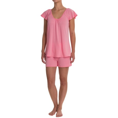 Softies Paddi Murphy Natalie Shorty Pajamas - Short Sleeve (For Women) in Coral