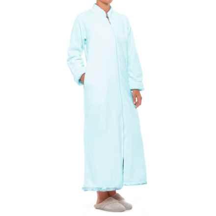 Softies Plush Velour Robe - Full Zip, Long Sleeve (For Women) in Light Blue - Closeouts