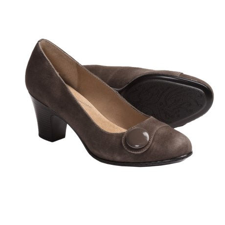 Softspots Basha Pumps - Leather (For Women) in Taupe Grey Suede