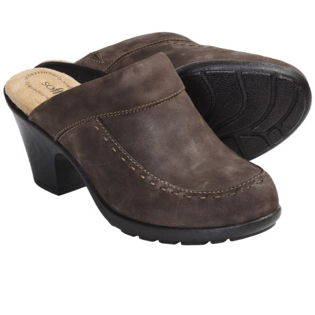 Softspots Collette Leather Clogs - Open Back (For Women) in Coffee