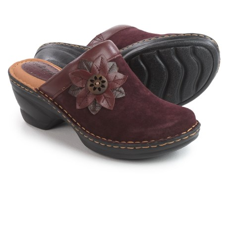 Softspots Lara Clogs - Leather (For Women) in Bordeaux Red Suede