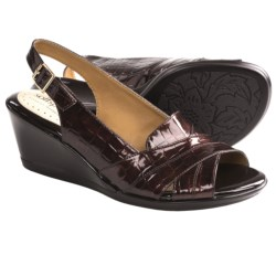 Softspots Linette Sling-Back Sandals (For Women) in Dark Brown Croco