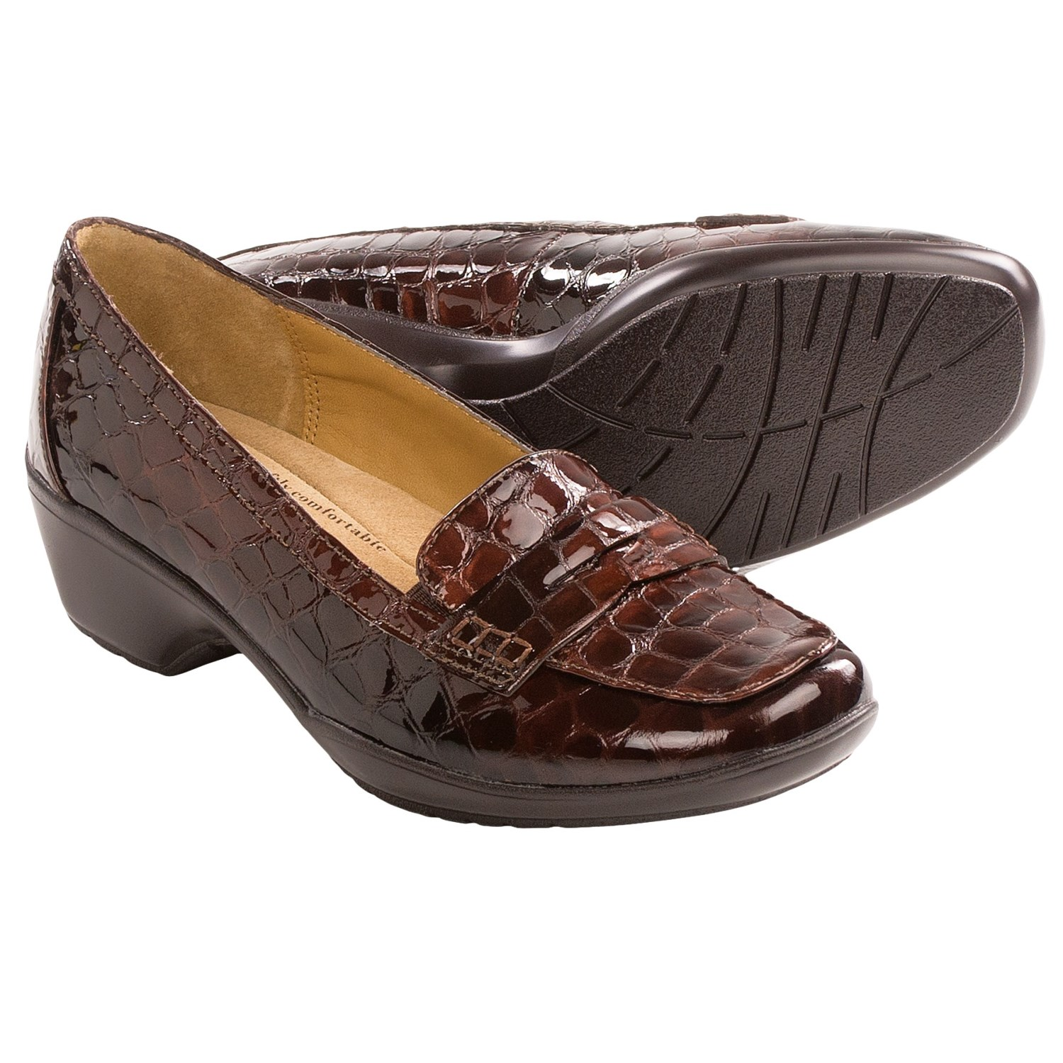 Softspots Maven Penny Loafer Shoes (For Women) in Dark Brown Croco