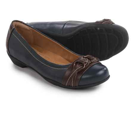 SoftSpots Posie Shoes - Leather, Slip-Ons (For Women) in Navy/Chocolate - Closeouts