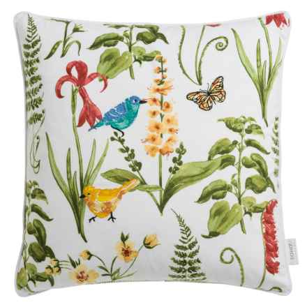 """Soho Living Botanical Ferns Decor Pillow - 20x20"""", Feathers in Green/Red - Closeouts"""