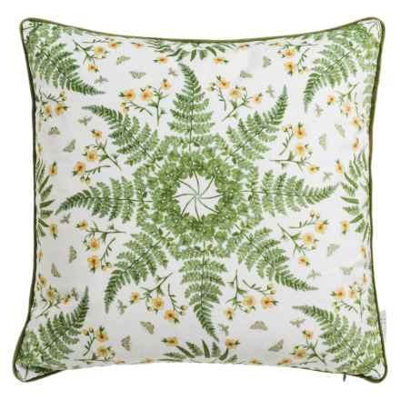 """Soho Living Fern Kaleidoscope Velvet Decor Pillow - 20x20"""", Feathers in Green/Red - Closeouts"""