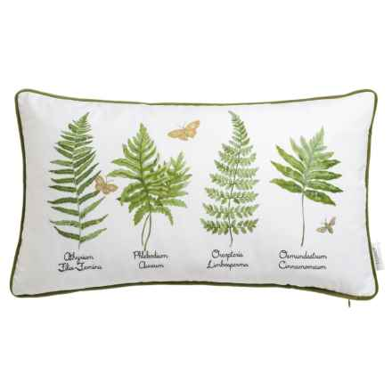 """Soho Living Types of Ferns Decor Pillow - 14x24"""", Feathers in Green - Closeouts"""