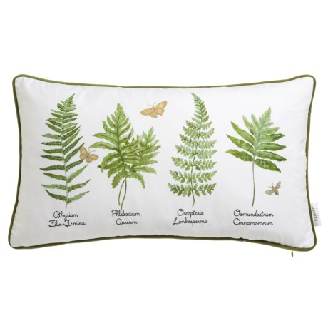 """Soho Living Types of Ferns Decor Pillow - 14x24"""", Feathers in Green"""