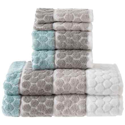 SOHO Ombre Penny Tile Bath Towel Set - 6-Piece in Spa Neutral - Closeouts