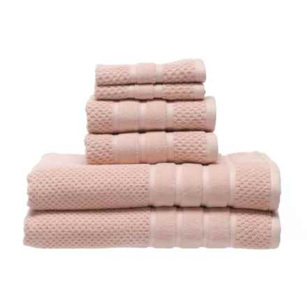 SOHO Textured Velour Bath Towel Set - 6-Piece in Blush - Closeouts