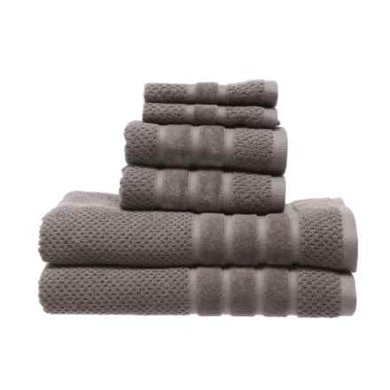 SOHO Textured Velour Bath Towel Set - 6-Piece in Charcoal - Closeouts