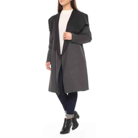 SOIA & KYO Canadian Designer Oxana Wool Wrap Coat (For Women) in Charcoal - Closeouts