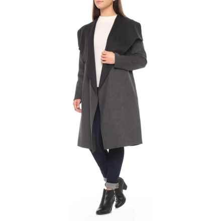 SOIA & KYO Oxana Wool Wrap Coat (For Women) in Charcoal - Closeouts