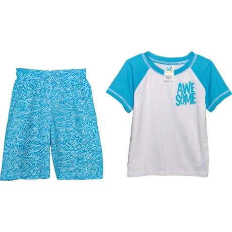dbea939081 Sol Swim Awesome Rash Guard and Swim Trunks Set - UPF 50, Short Sleeve (