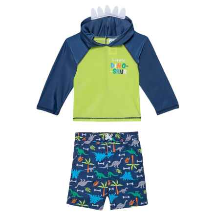 Sol Swim Little Dino Rash Guard and Swim Trunks Set - UPF 50, 2-Piece, Long Sleeve (For Infants) in Little Dino - Closeouts
