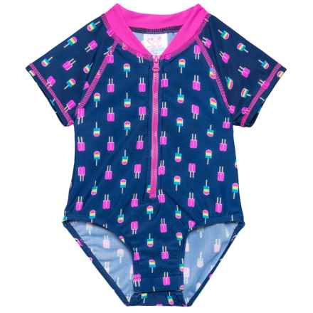 Sol Swim Neon Popsicles Bodysuit Rash Guard - UPF 50, Short Sleeve (For Newborns and Infants) in Neon Popsicles - Closeouts