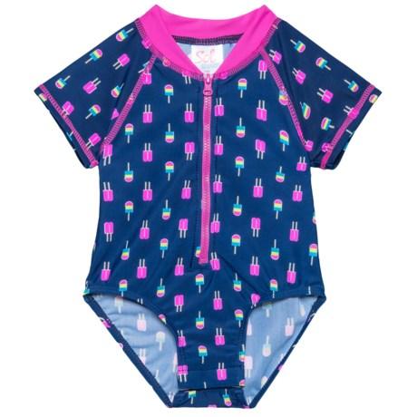 Sol Swim Neon Popsicles Bodysuit Rash Guard - UPF 50, Short Sleeve (For Newborns and Infants) in Neon Popsicles