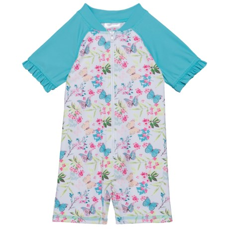 Sol Swim Precious Butterflies Rash Guard Suit - UPF 50, Short Sleeve (For Newborns and Infants) in Precious Butterflies