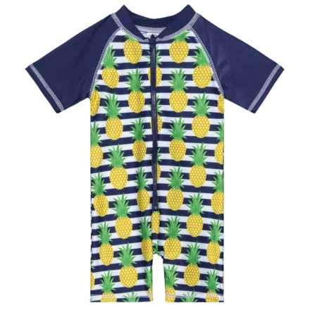Sol Swim Preppy Pineapple Rash Guard Suit - UPF 50, Short Sleeve (For Infants) in Preppy Pineapple - Closeouts