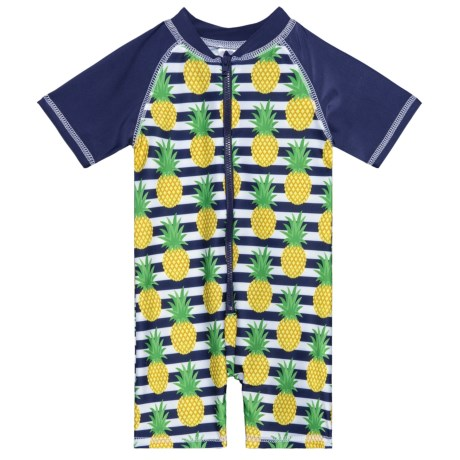 Sol Swim Preppy Pineapple Rash Guard Suit - UPF 50, Short Sleeve (For Infants) in Preppy Pineapple