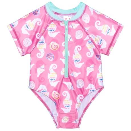 Sol Swim Seahorse & Shells Rash Guard Suit - UPF 50, Short Sleeve (For Newborns and Infants) in Seahorse & Shells