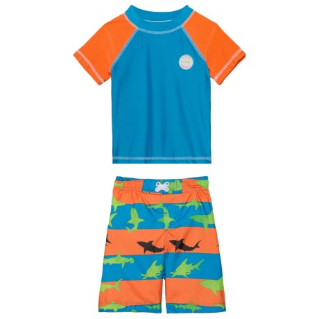 Sol Swim Shark Illusion Rash Guard and Swim Trunks - UPF 50, Short Sleeve (For Toddlers) in Shark Illusion