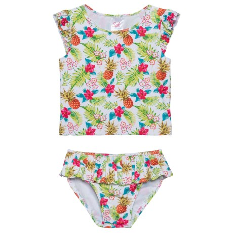 Sol Swim Tropical Holiday Rash Guard and Brief Set - UPF 50, Short Sleeve (For Little Girls) in Tropical Holiday
