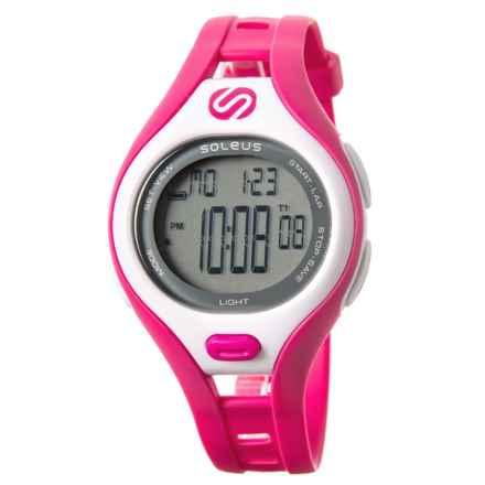 Soleus Dash Small Digital Running Watch (For Women) in Matte Pink/White - Closeouts