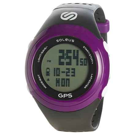 Soleus GPS FIT Digital Running Watch - Plastic Band (For Men and Women) in Black/Purple - Closeouts