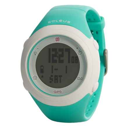 Soleus GPS Fly Digital Running Watch - Composite Strap (For Men and Women) in Mint Green - Closeouts