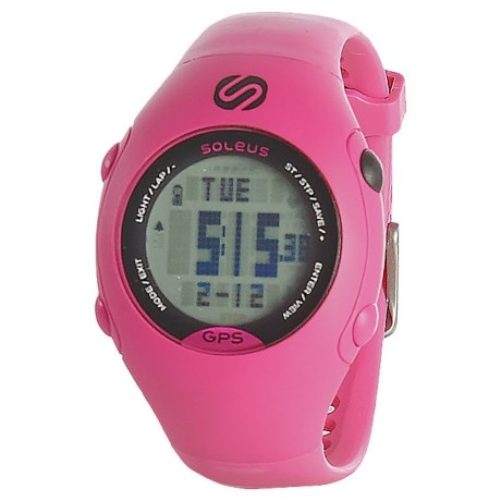 Soleus GPS Mini Digital Running Watch - Plastic Strap (For Men and Women) in Pink