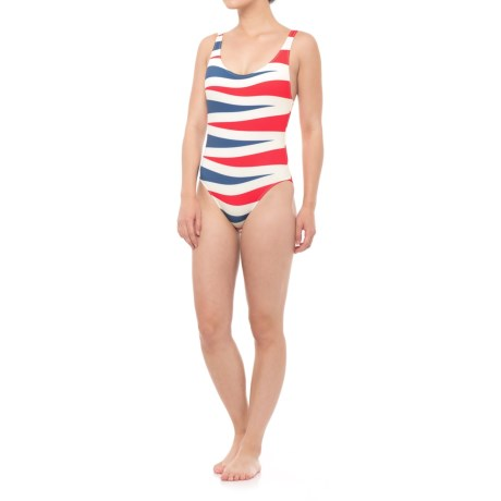 Solid & Striped The Anne-Marie One Piece Swimsuit (For Women) in Red Slate Backgammon