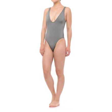 Solid & Striped The Michelle One-Piece Swimsuit (For Women) in Shiny Gunmetal - Closeouts