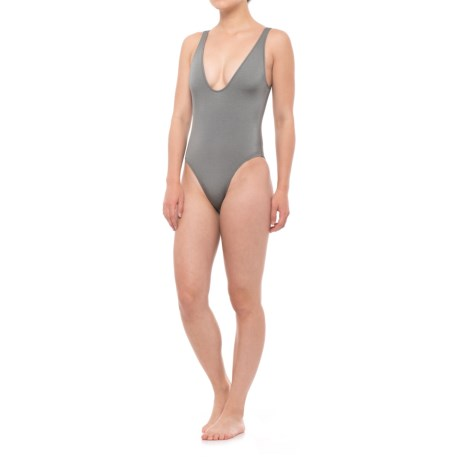 Solid & Striped The Michelle One-Piece Swimsuit (For Women) in Shiny Gunmetal
