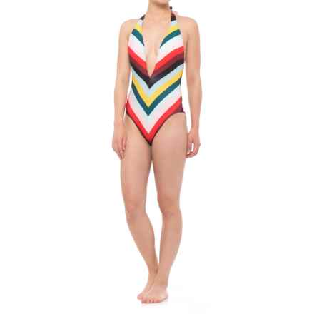Solid & Striped The Willow One-Piece Swimsuit (For Women) in Diagonal Paradise Stripe - Closeouts