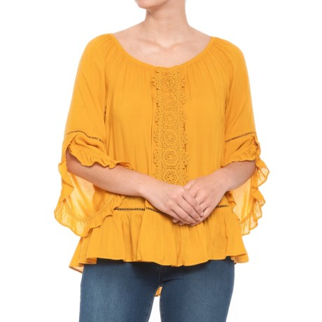 Image of Solid Bell Sleeve Blouse - 3/4 Sleeve (For Women)