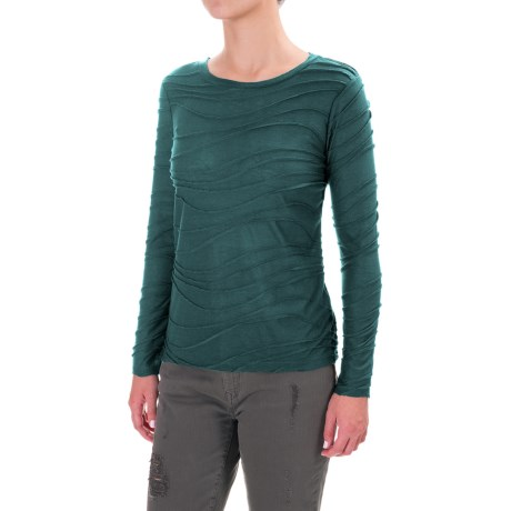 Solid Braided Trim Shirt - Long Sleeve (For Women) in Jade