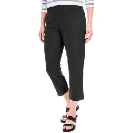 Solid Cotton-Blend Crop Pants (For Women) in Black - 2nds
