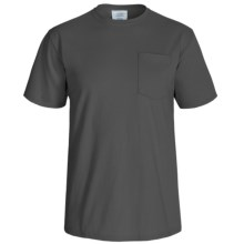 Solid Cotton Pocket T-Shirt - Crew Neck, Short Sleeve (For Men and Women) in Dark Grey - 2nds