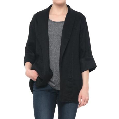 Solid Cuffed Linen Jacket - 3/4 Sleeve (For Women)