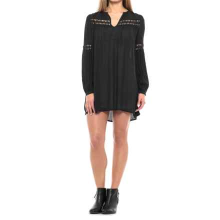 Solid Cutout Woven Dress - Rayon, Long Sleeve (For Women) in Black - 2nds