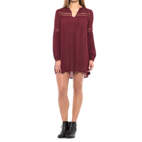 Solid Cutout Woven Dress - Rayon, Long Sleeve (For Women) in Burgandy