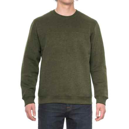 Solid Fleece Stitch-Trimmed Sweatshirt (For Men) in Olive Heather - Closeouts