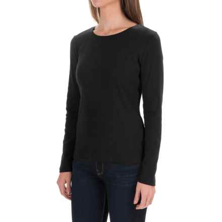 Solid Knit Cotton Shirt - Long Sleeve (For Women) in Black - 2nds