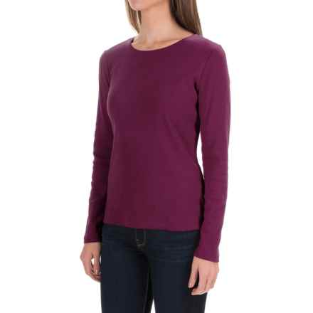 Solid Knit Cotton Shirt - Long Sleeve (For Women) in Burgundy - 2nds